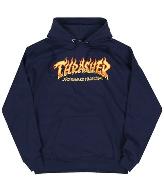 Thrasher Fire Logo Hoodie Navy