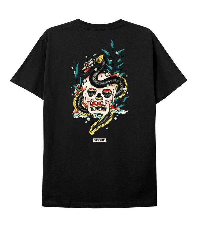 5Boro Skull & Eel Tee Black