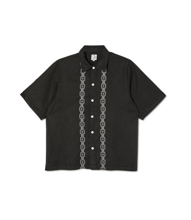 Polar Square Stripe Bowling Shirt  Black