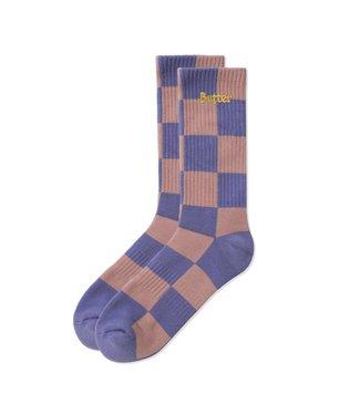 Butter Goods Butter Goods Checkered Socks Terracotta / Mauve
