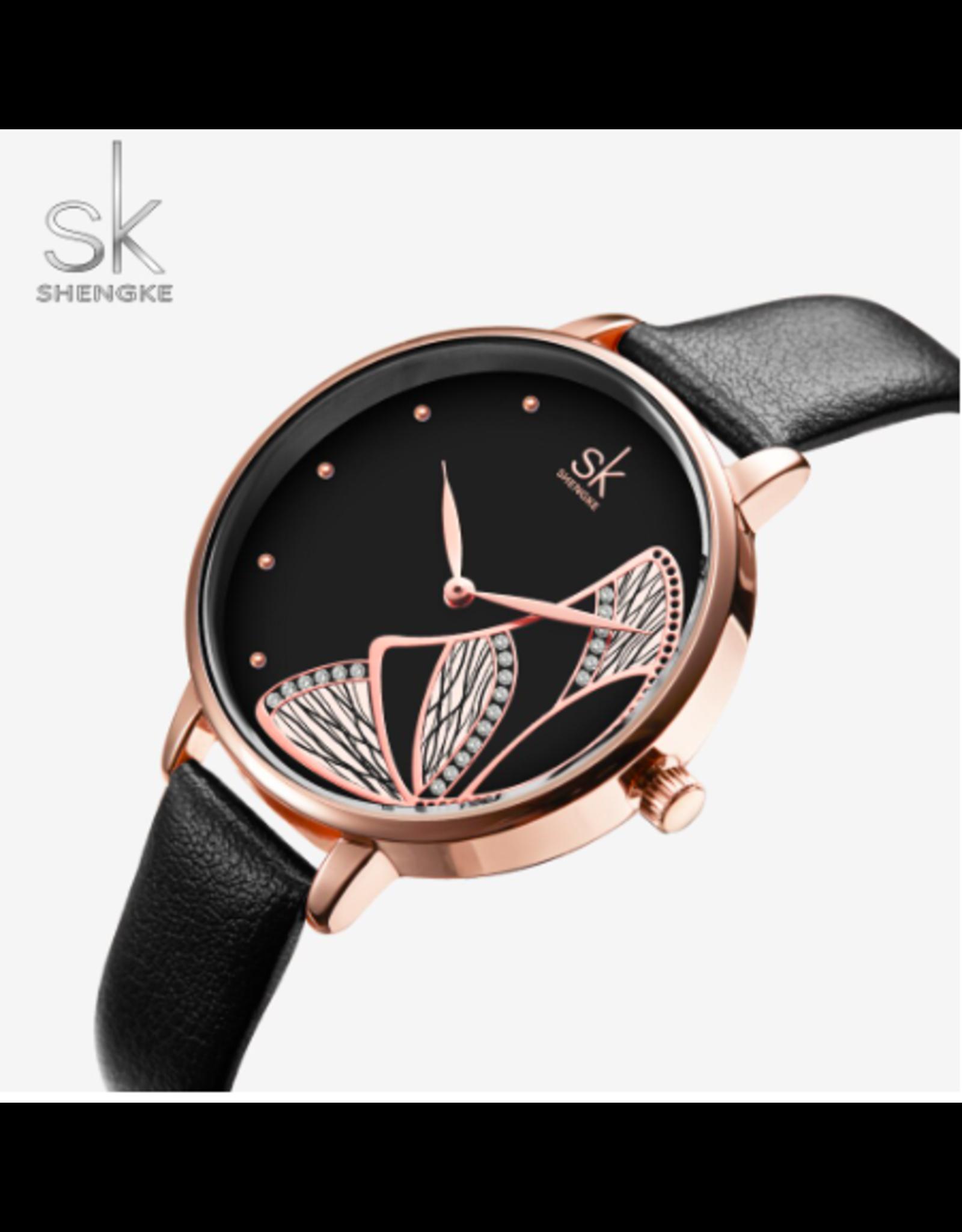 Shengke Shengke Cuir Noir Papillon