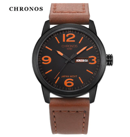 Chronos Chronos cuir brun chiffres oranges