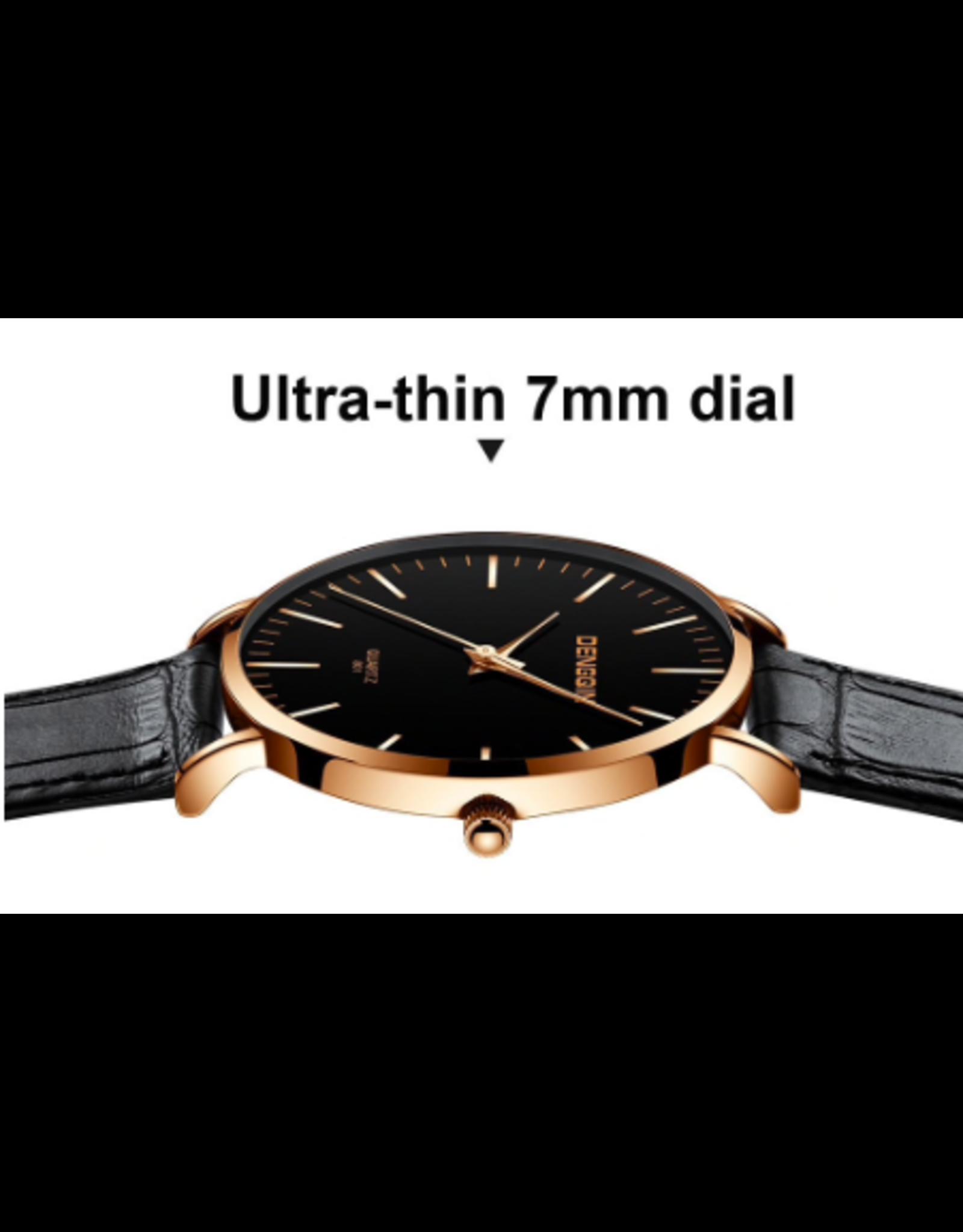 Sanwony Fond noir mince style DW, bracelet brun