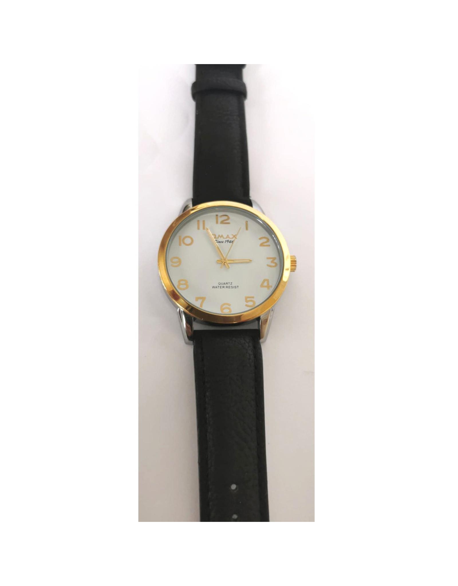 Omax 2 tons, fond blanc, bracelet noir