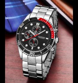 Curren Style Rolex, tour rouge et noir, bracelet argent