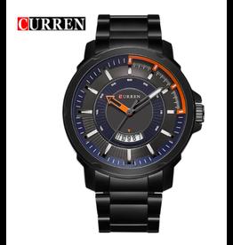Curren Bracelet Noir, Fond Noir, Bleu, Orange