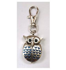 Porte-clés Hibou argent et bleu