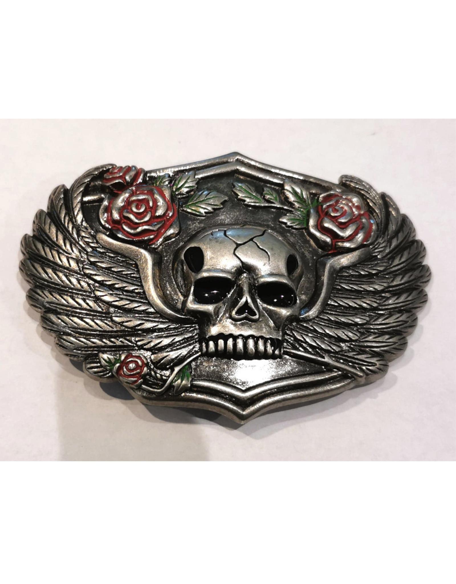 Boucle Tête de mort ailée et roses (B74)