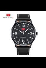 Mini Focus Boîtier noir, bracelet cuir noir, chiffres