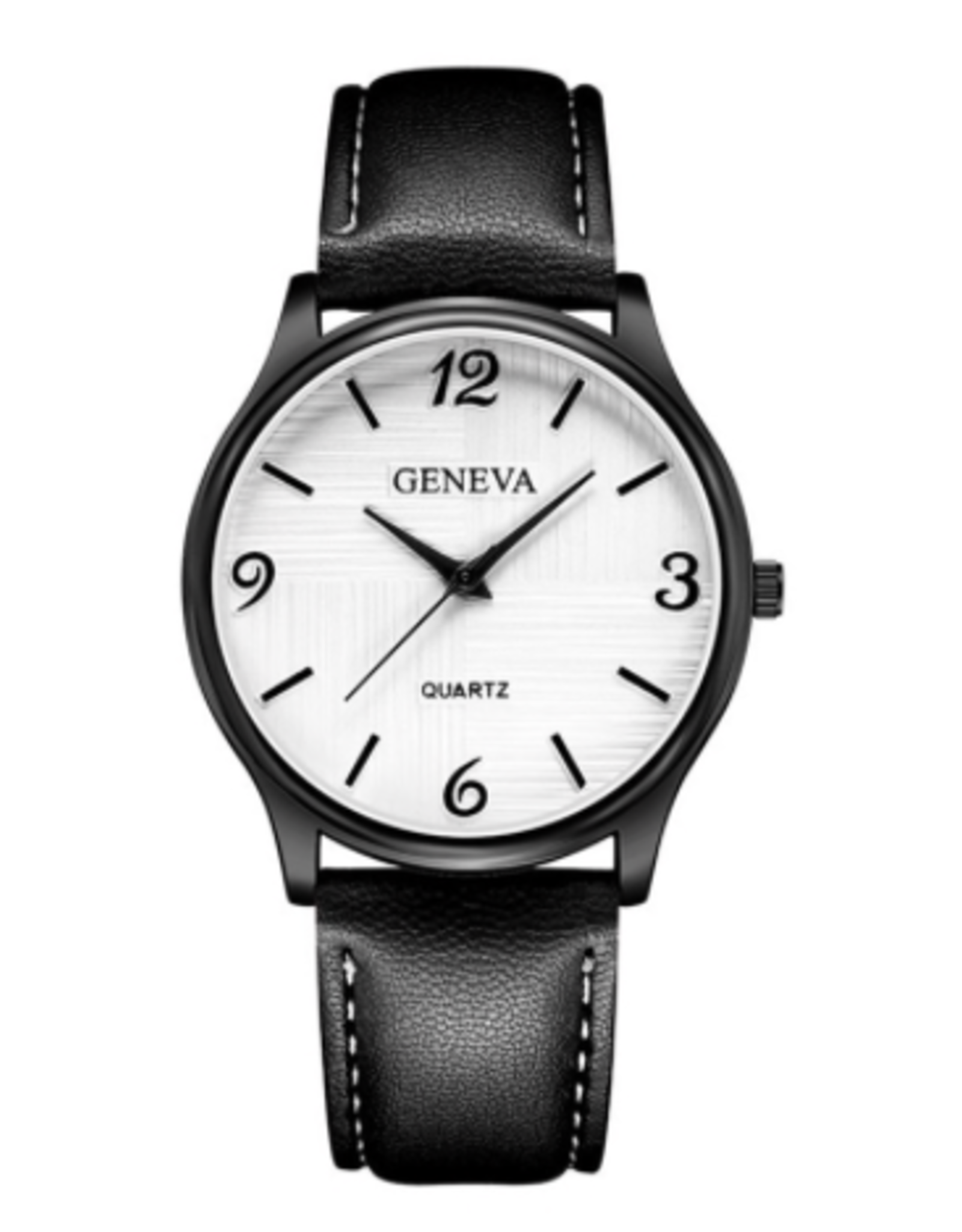Geneva Cuir noir, fond blanc