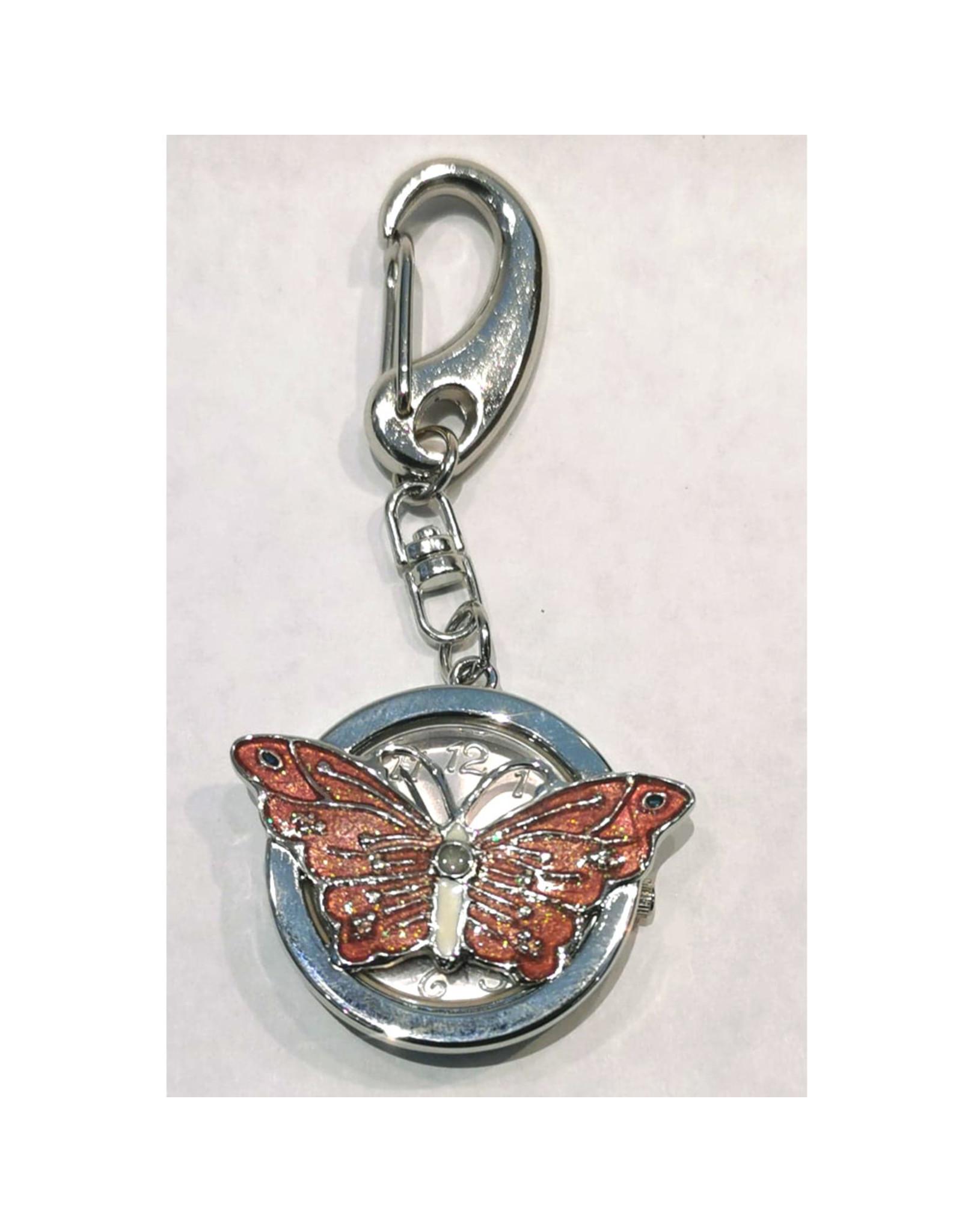 Porte-clés Papillon rose dans un cercle