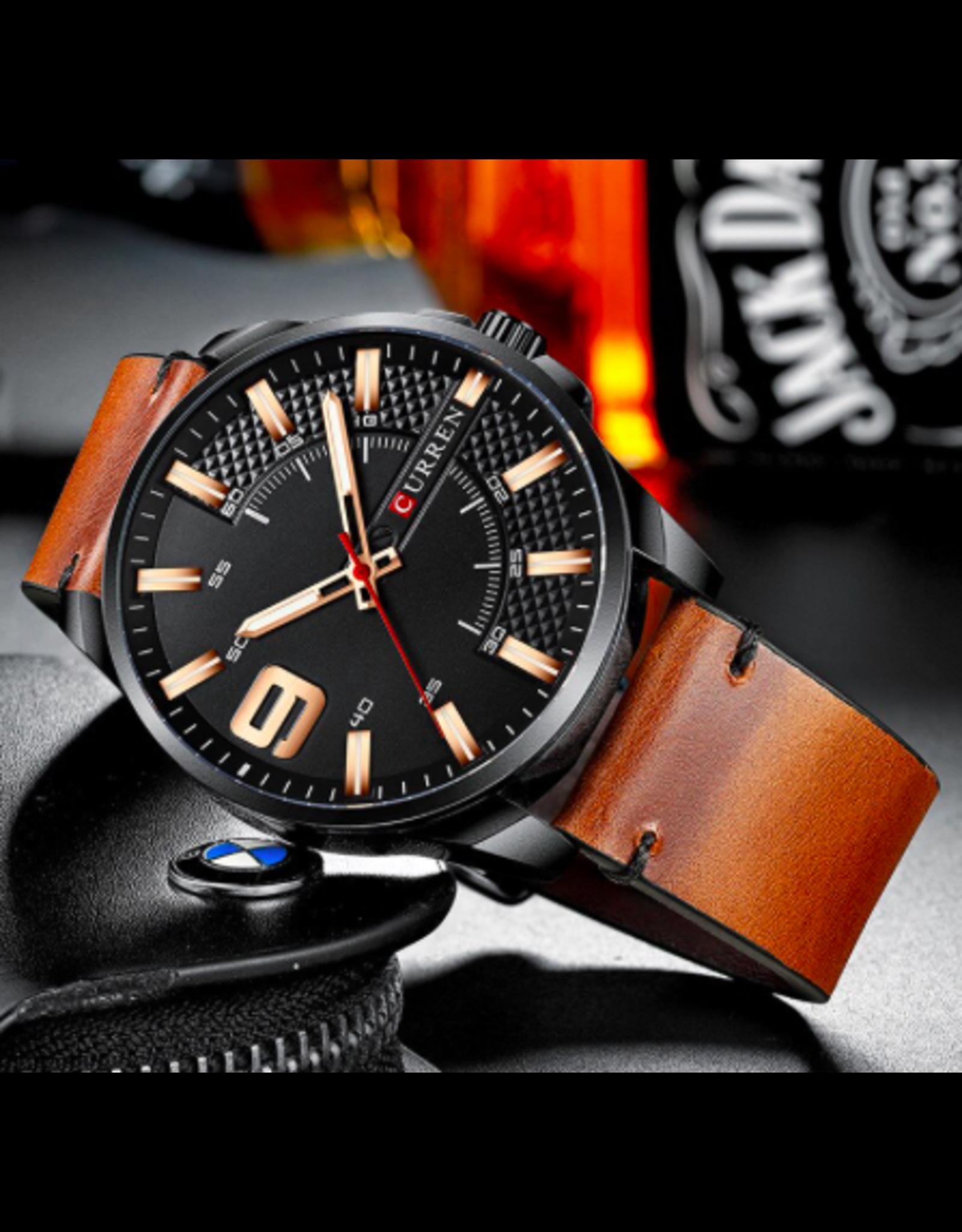Curren Bracelet brun tan cognac, Boîtier noir