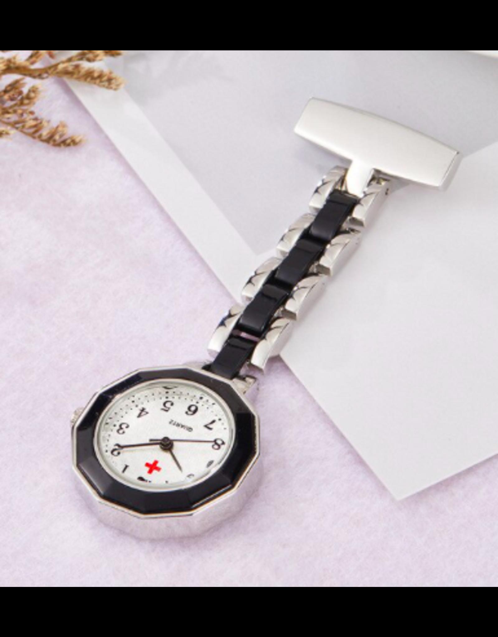 Infirmière Nurse watch- métal et noir