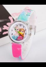 Enfant Reine de neige boîtier lumineux bracelet rose foncé