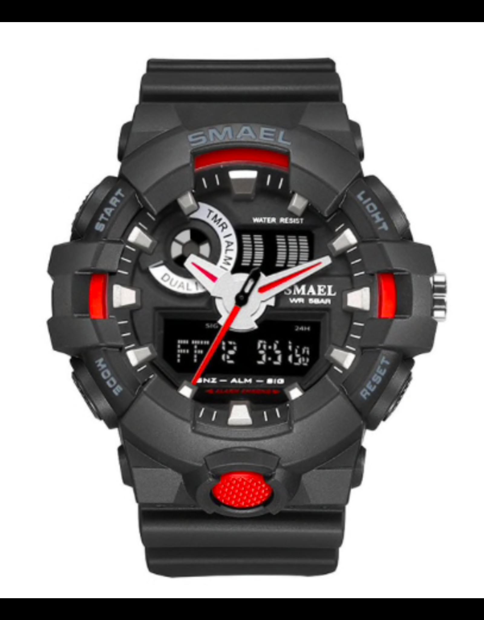 SMAEL Style G-Shock noir et rouge