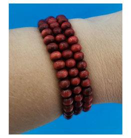 Bracelet Bracelet billes bois rouges