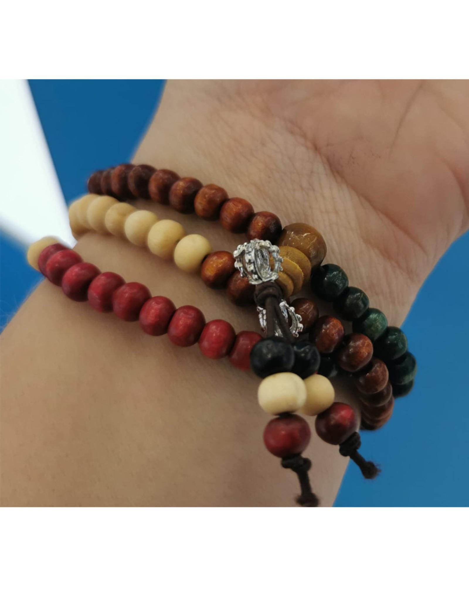 Bracelet de billes en bois multicolores