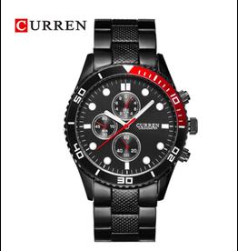 Curren Style Rolex noir fond noir tour rouge