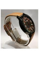 Mitina Fond anneau brun orangé, bracelet motif bois beige