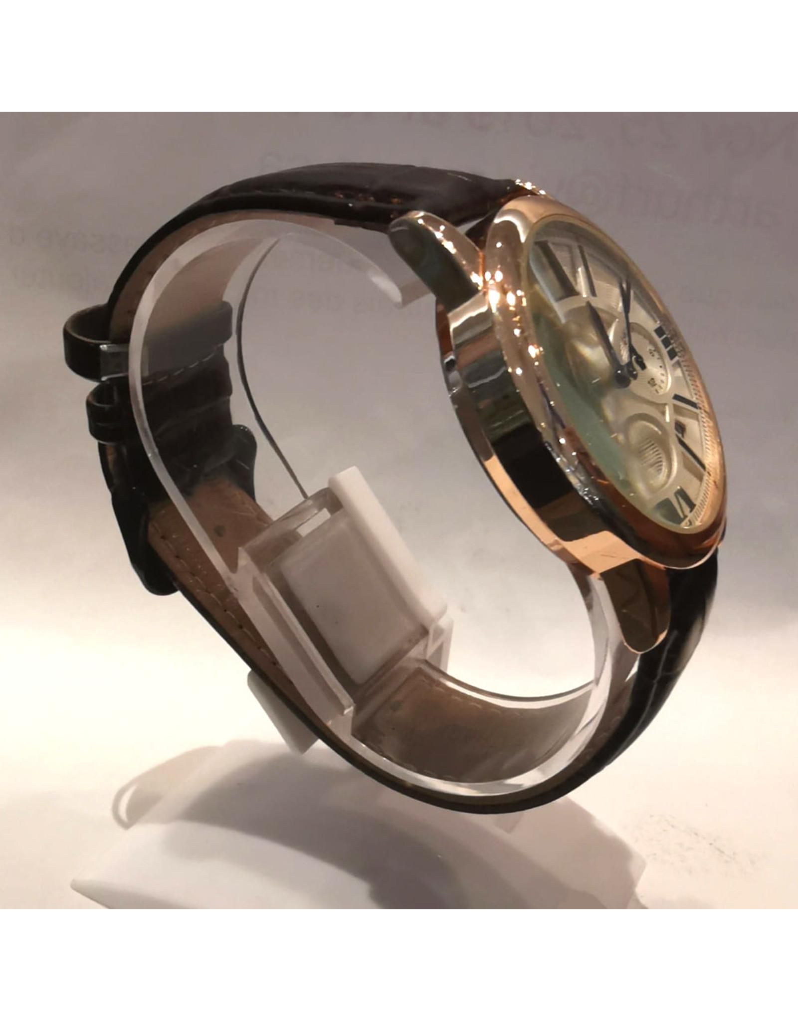 Moment Gold rose chiffres romains bracelet brun
