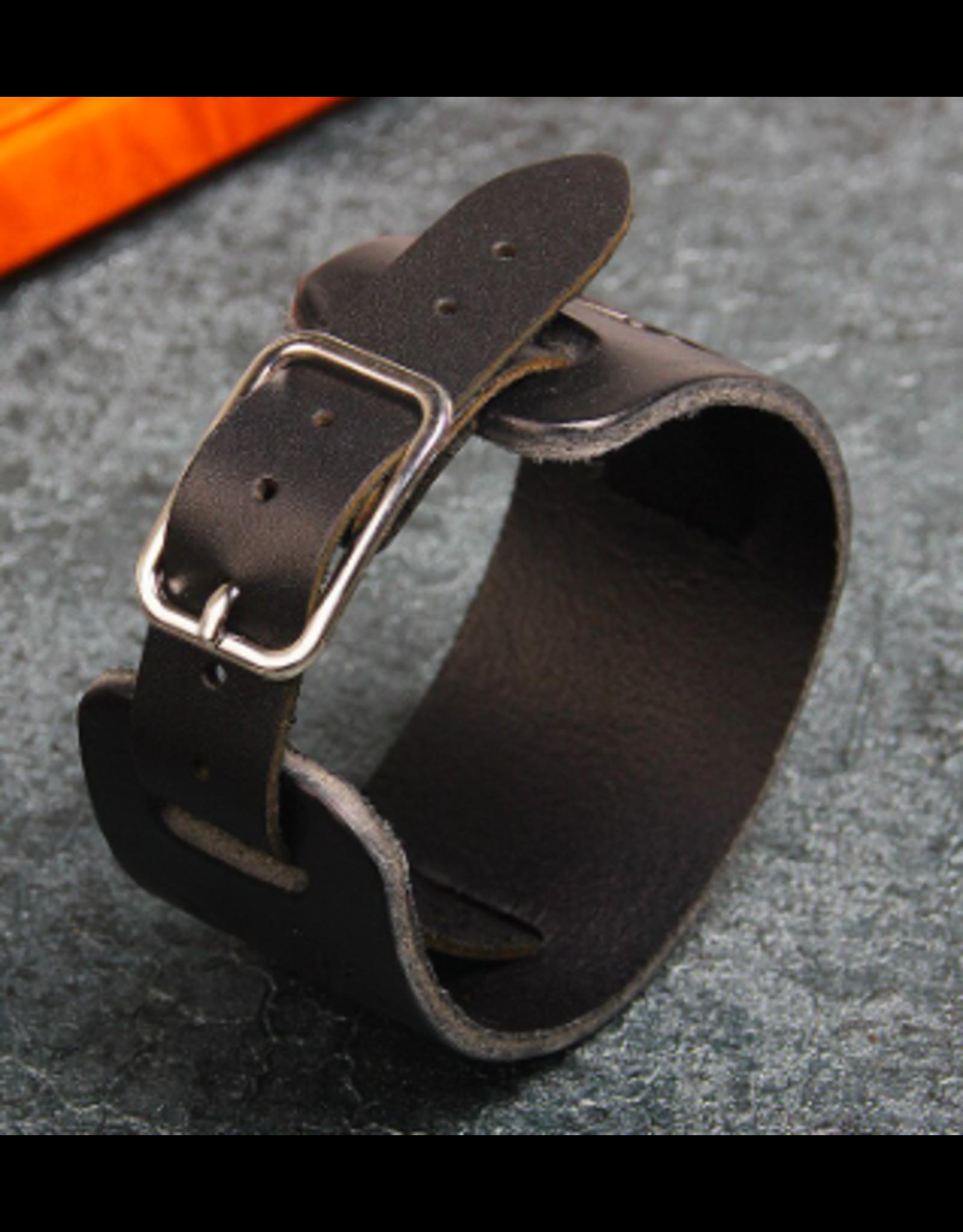 Bracelet Bracelet cuir large noir/ aigle