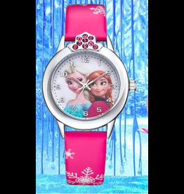 Fashion watch La reine des neiges cuirette rose foncé