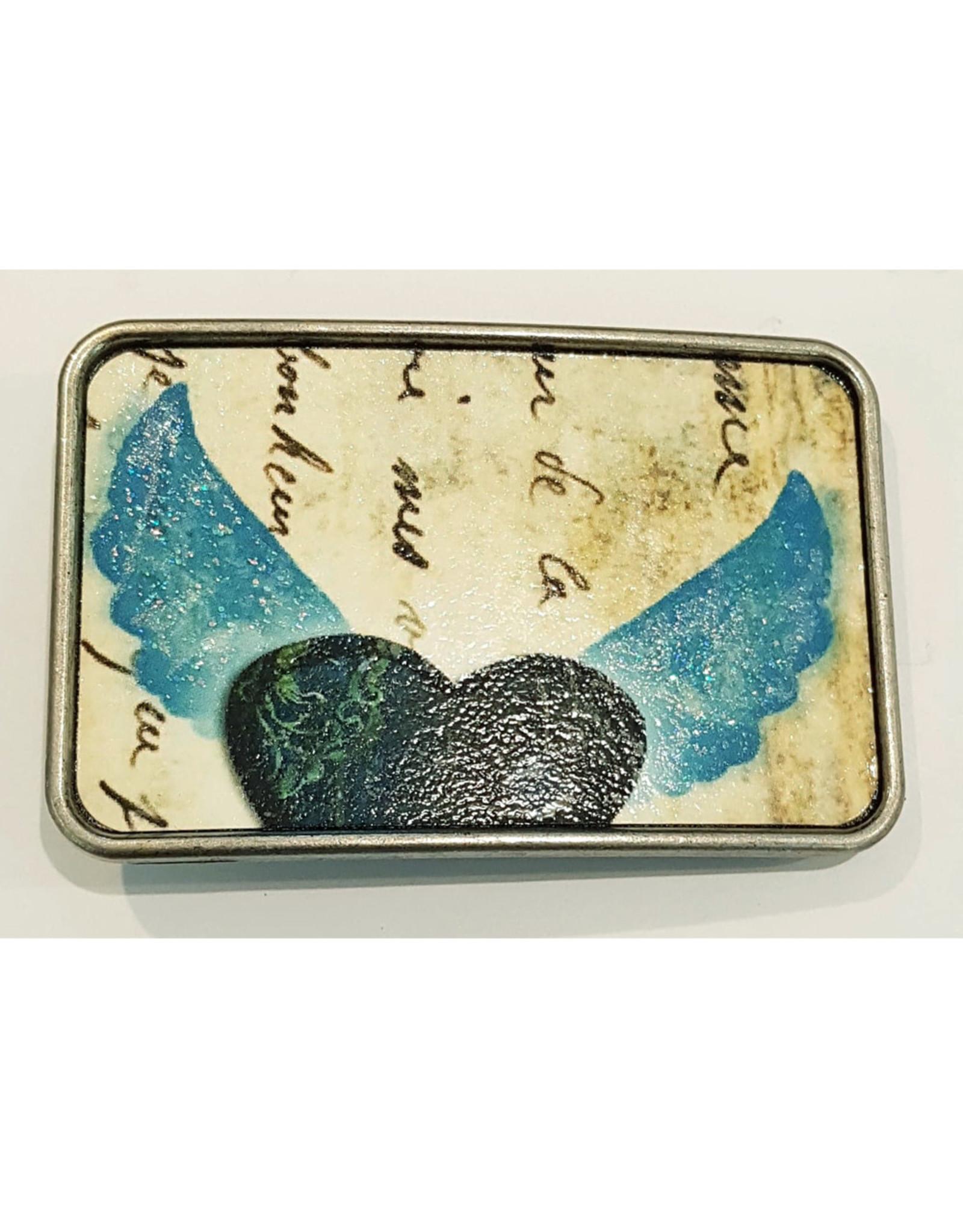 Boucle Boucle rectangle coeur ailé bleu (B36)