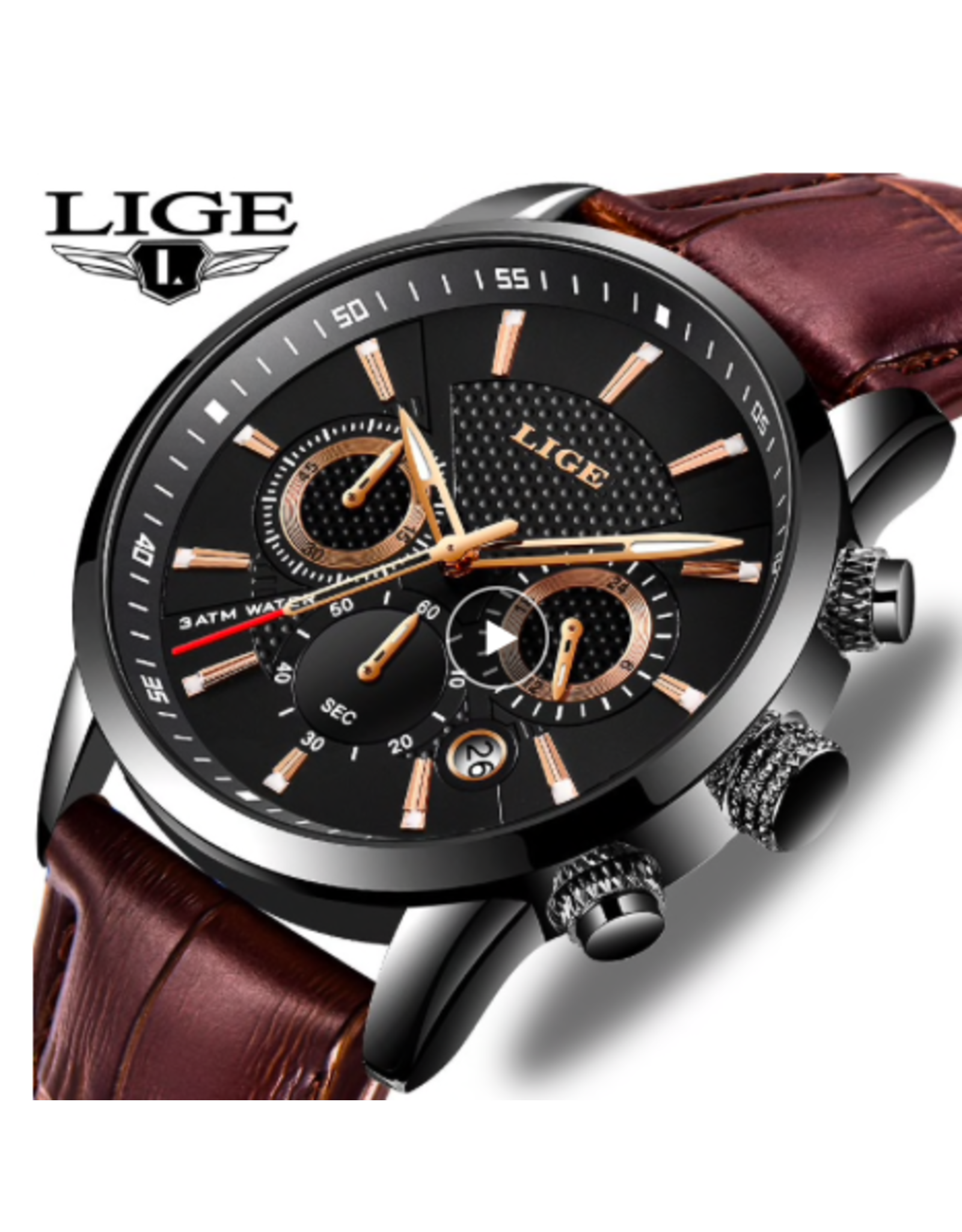 Lige Bracelet brun, boîtier noir, index or cuivré