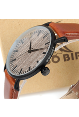 Bobo Bird Cuir brun, boîtier mince, fond en bois