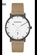 Borong Boîtier mince noir, fond blanc, bracelet tan beige