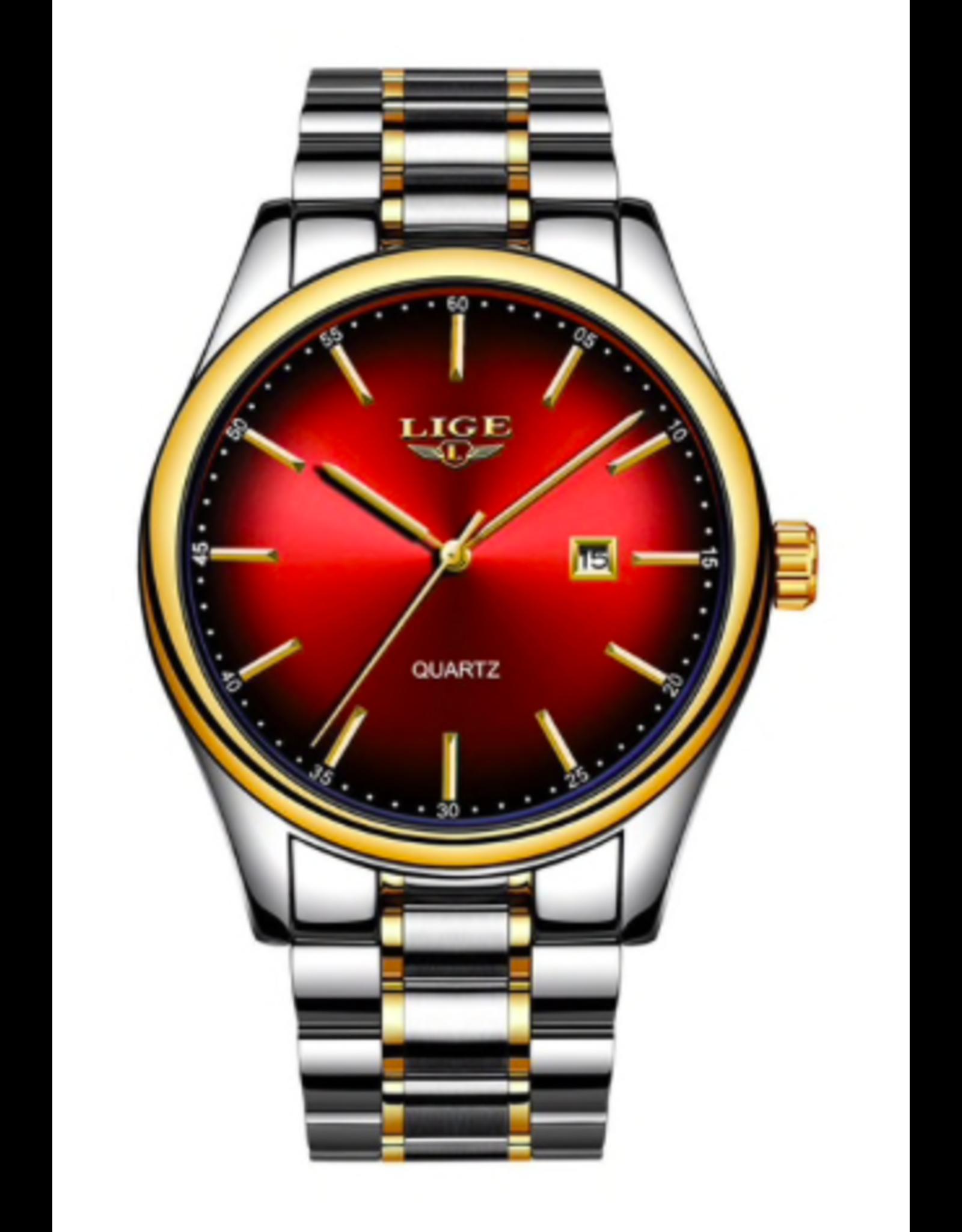 Lige Bracelet stainless 2 tons, fond rouge