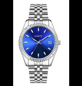 Gaiety Style Rolex argent fond bleu