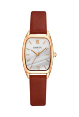 Gaiety Rectangle rosegold et bracelet de cuir brun