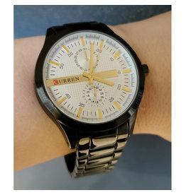Curren Montre bracelet noir, fond blanc et or