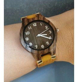Écosse Boîtier imitation bois, bracelet cuir brun