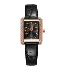 Shengke Rectangle rosegold bracelet de cuir noir