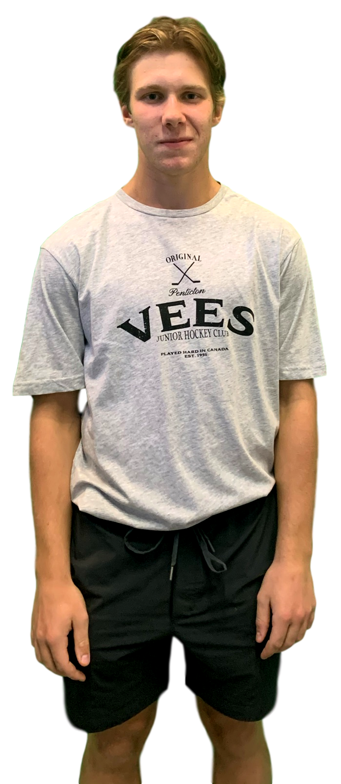 Penticton Vees Mens Grey T shirt with Black Logo