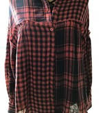 Umgee PLAID & CHECK PRINT LONG SLEEVE BUTTON UP COLLARED