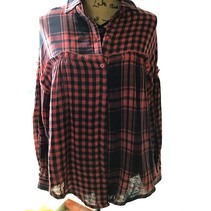 PLAID & CHECK PRINT LONG SLEEVE BUTTON UP COLLARED