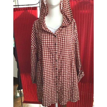 Easel Checked red hooded top long sleeve
