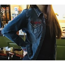 Denim Jackets  Red Embroidered