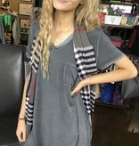 Umgee WASHED ASH- TEA DRESS W/ CHEST POCKET