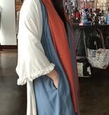 Umgee Dust Blue Frayed Hem Pocket Dress