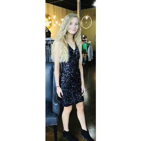 Molly Bracken Sequin Multi-Color Dress W/Lining