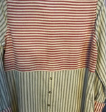 Hem & Thread Red and Black striped Button upW back buttons