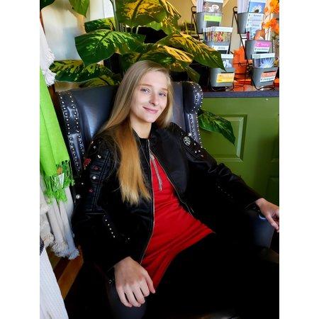 Molly Bracken Black vegan leather jacket/ Bling sleeves