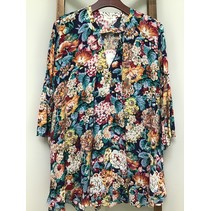 Keyhole Flowered Tunic W/ Bell Sleeves