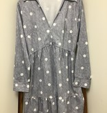 OS Polka Dot Dress Grey Long Sleeve