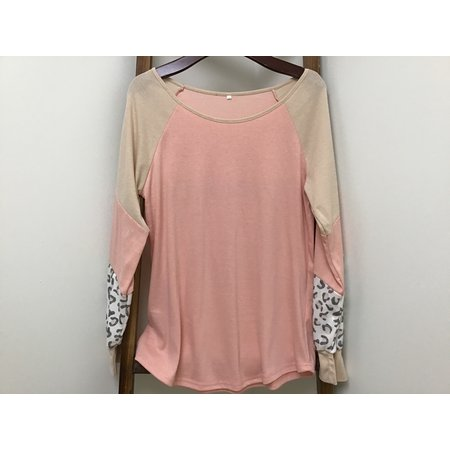 OS Pink Shirt W/ Cheetah print on long sleeve cuff