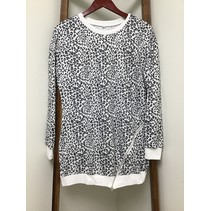 Cheetah Print long top Grey W/ white trim